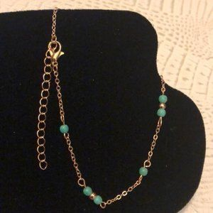 Rose Gold and Turquoise Anklet
